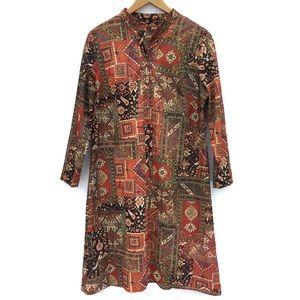 Vintage 70s Hippie Boho Mod Print Tunic Dress